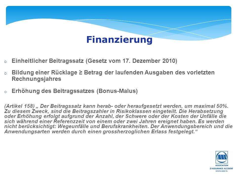 Seite: 39 Finanzierung o Einheitlicher Beitragssatz (Gesetz vom 17. Dezember 2010) o Bildung einer Rücklage ≥ Betrag der laufenden Ausgaben des vorlet