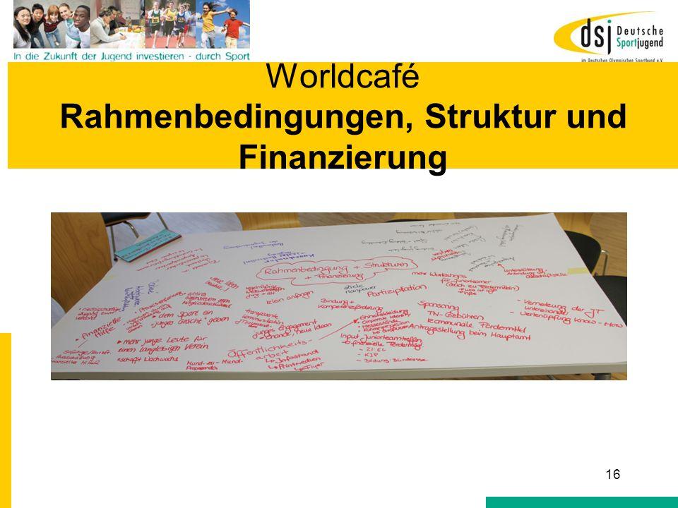 Worldcafé Rahmenbedingungen und Finanzierung Worldcafé Rahmenbedingungen, Struktur und Finanzierung 16