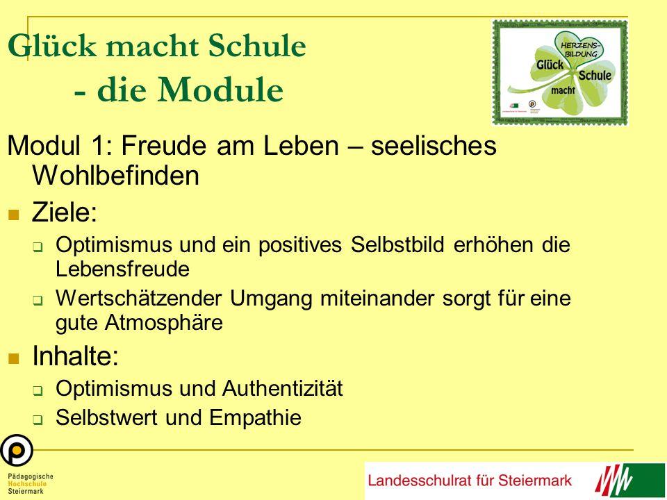 Glück macht Schule - die Module Modul 1: Freude am Leben – seelisches Wohlbefinden Ziele:  Optimismus und ein positives Selbstbild erhöhen die Lebensfreude  Wertschätzender Umgang miteinander sorgt für eine gute Atmosphäre Inhalte:  Optimismus und Authentizität  Selbstwert und Empathie