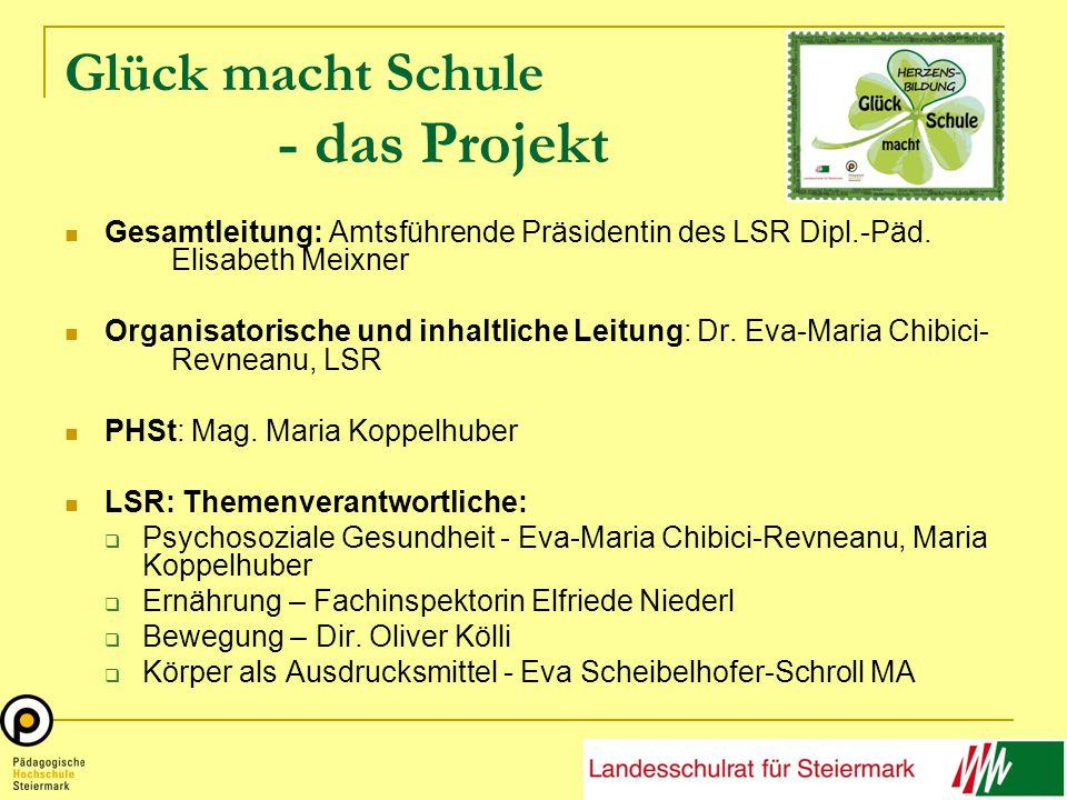 Glück macht Schule - das Projekt Gesamtleitung: Amtsführende Präsidentin des LSR Dipl.-Päd.
