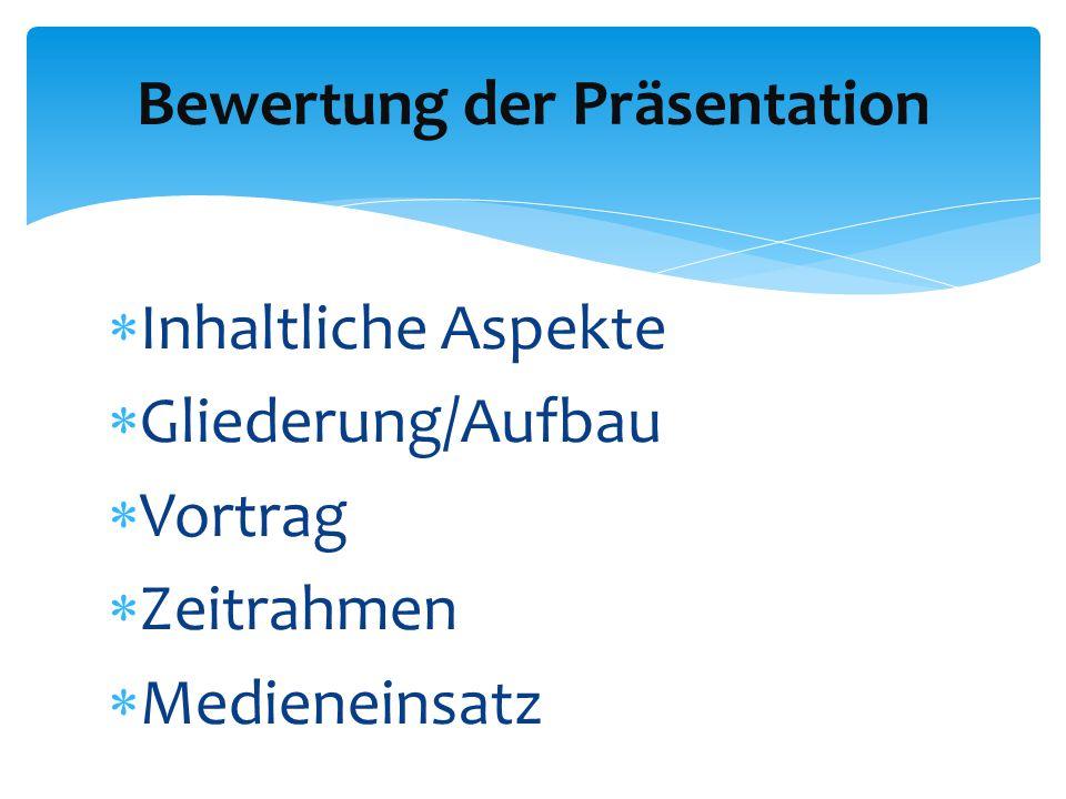  Inhaltliche Aspekte  Gliederung/Aufbau  Vortrag  Zeitrahmen  Medieneinsatz Bewertung der Präsentation