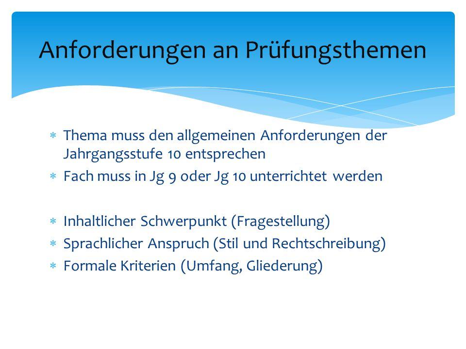  Abstimmung des Themas mit einem Fachlehrer (max.