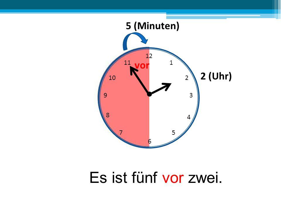 12 6 39 10 111 2 4 57 8 Es ist fünf vor zwei. 5 (Minuten) vor 2 (Uhr)