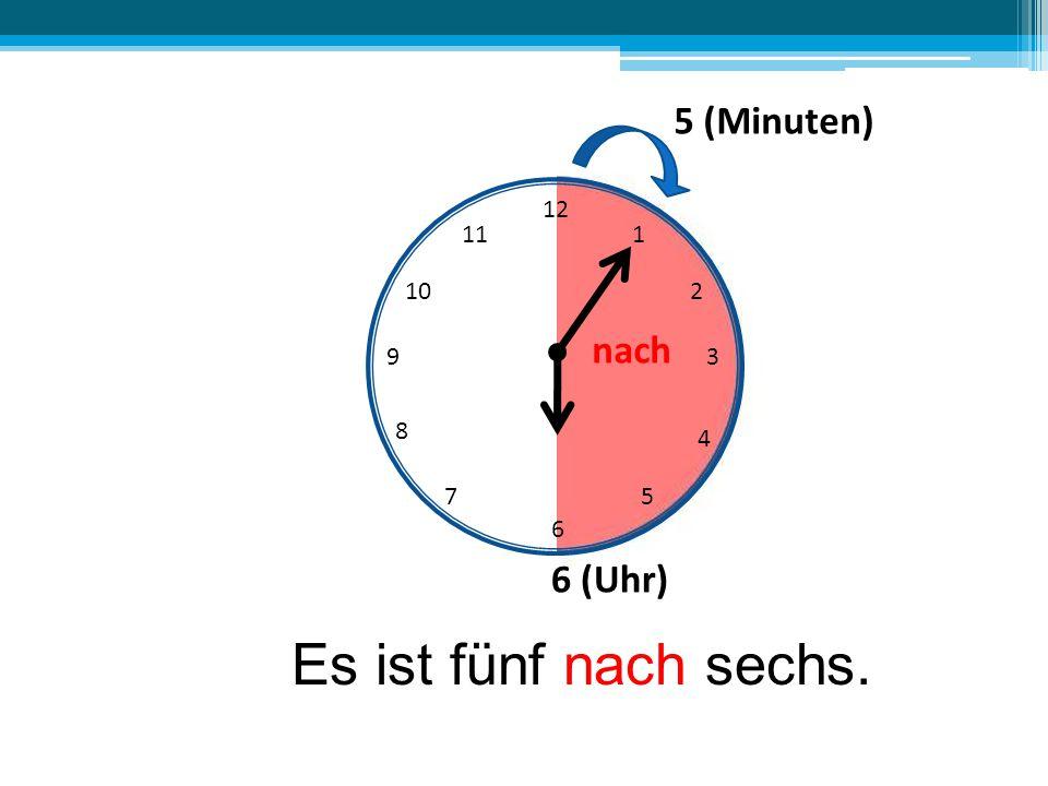 12 6 39 10 111 2 4 57 8 5 (Minuten) nach 6 (Uhr) Es ist fünf nach sechs.