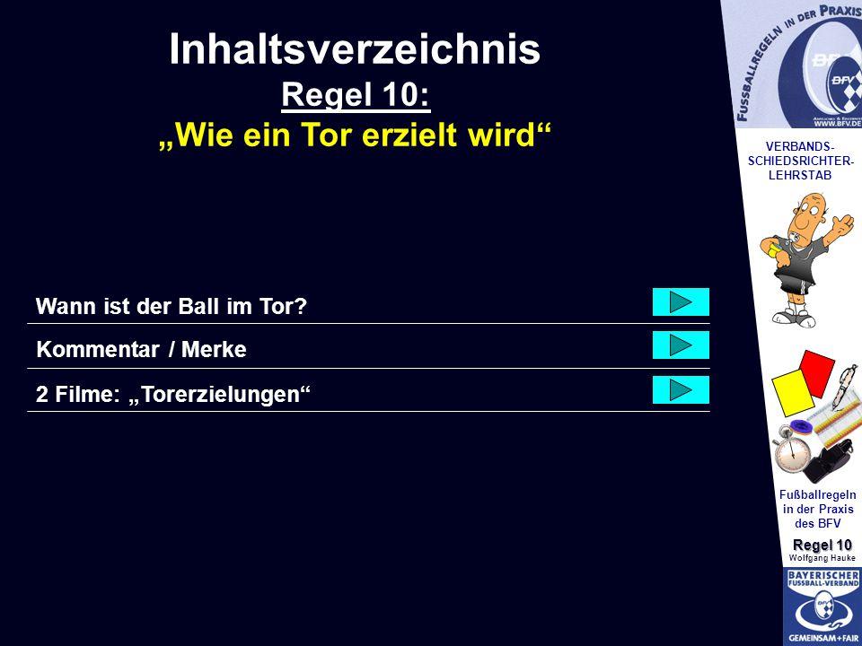 VERBANDS- SCHIEDSRICHTER- LEHRSTAB Fußballregeln in der Praxis des BFV Regel 10 Wolfgang Hauke Wann ist der Ball im Tor? Kommentar / Merke Inhaltsverz