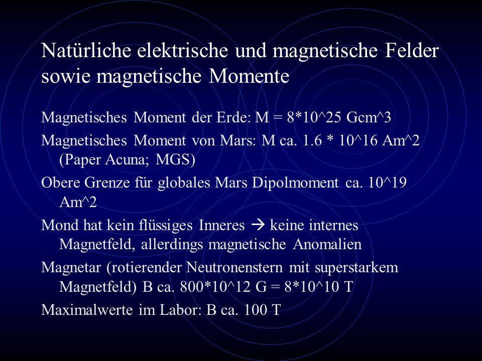 Natürliche elektrische und magnetische Felder sowie magnetische Momente Magnetisches Moment der Erde: M = 8*10^25 Gcm^3 Magnetisches Moment von Mars: M ca.