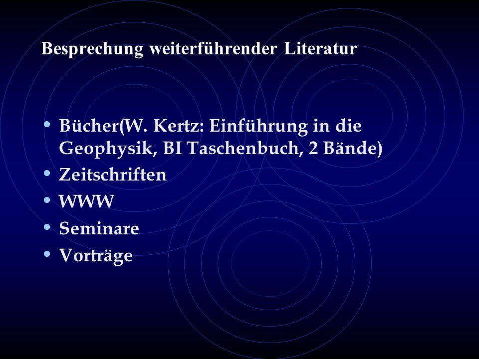 Besprechung weiterführender Literatur Bücher(W.