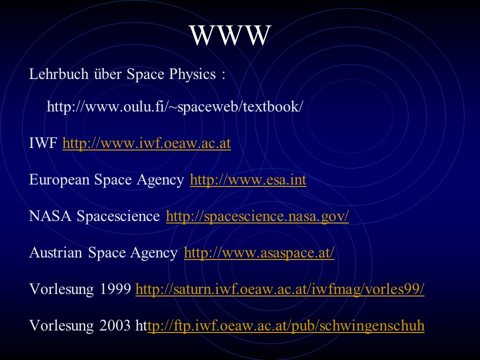 WWW Lehrbuch über Space Physics : http://www.oulu.fi/~spaceweb/textbook/ IWF http://www.iwf.oeaw.ac.athttp://www.iwf.oeaw.ac.at European Space Agency