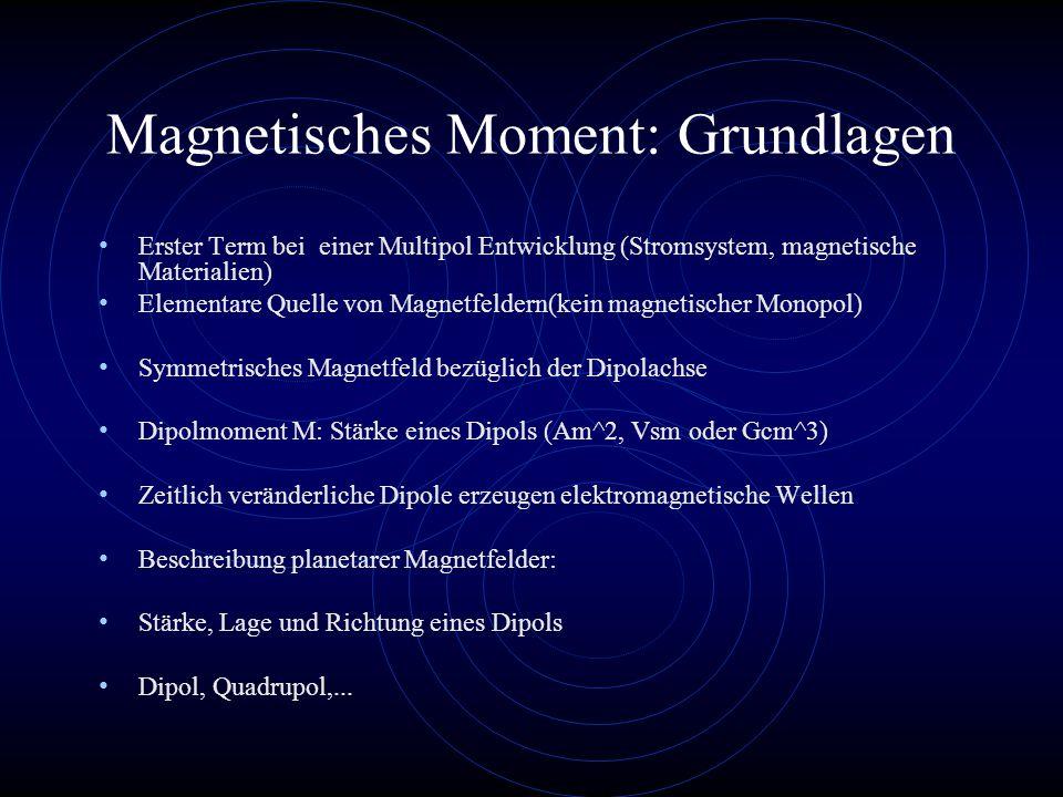 Magnetisches Moment: Grundlagen Erster Term bei einer Multipol Entwicklung (Stromsystem, magnetische Materialien) Elementare Quelle von Magnetfeldern(kein magnetischer Monopol) Symmetrisches Magnetfeld bezüglich der Dipolachse Dipolmoment M: Stärke eines Dipols (Am^2, Vsm oder Gcm^3) Zeitlich veränderliche Dipole erzeugen elektromagnetische Wellen Beschreibung planetarer Magnetfelder: Stärke, Lage und Richtung eines Dipols Dipol, Quadrupol,...
