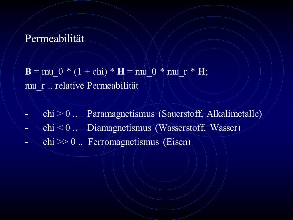 Permeabilität B = mu_0 * (1 + chi) * H = mu_0 * mu_r * H; mu_r..
