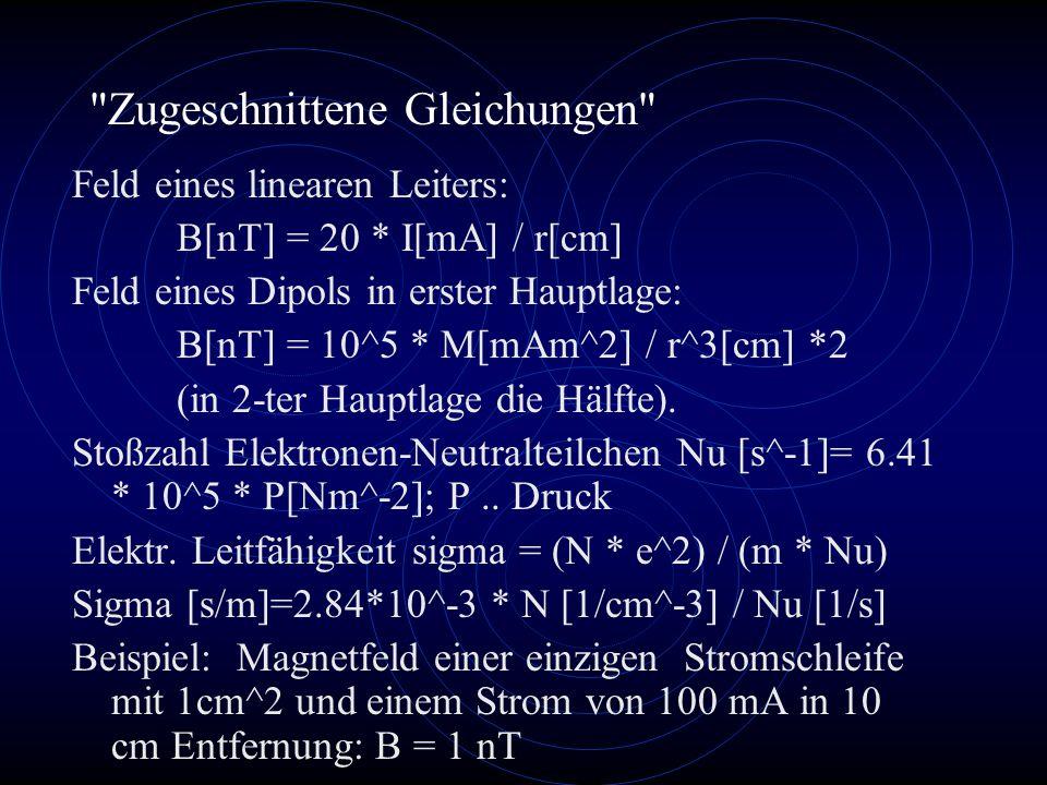 Zugeschnittene Gleichungen Feld eines linearen Leiters: B[nT] = 20 * I[mA] / r[cm] Feld eines Dipols in erster Hauptlage: B[nT] = 10^5 * M[mAm^2] / r^3[cm] *2 (in 2-ter Hauptlage die Hälfte).