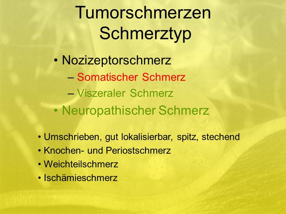 Nozizeptorschmerz – Somatischer Schmerz – Viszeraler Schmerz Neuropathischer Schmerz Umschrieben, gut lokalisierbar, spitz, stechend Knochen- und Periostschmerz Weichteilschmerz Ischämieschmerz Tumorschmerzen Schmerztyp