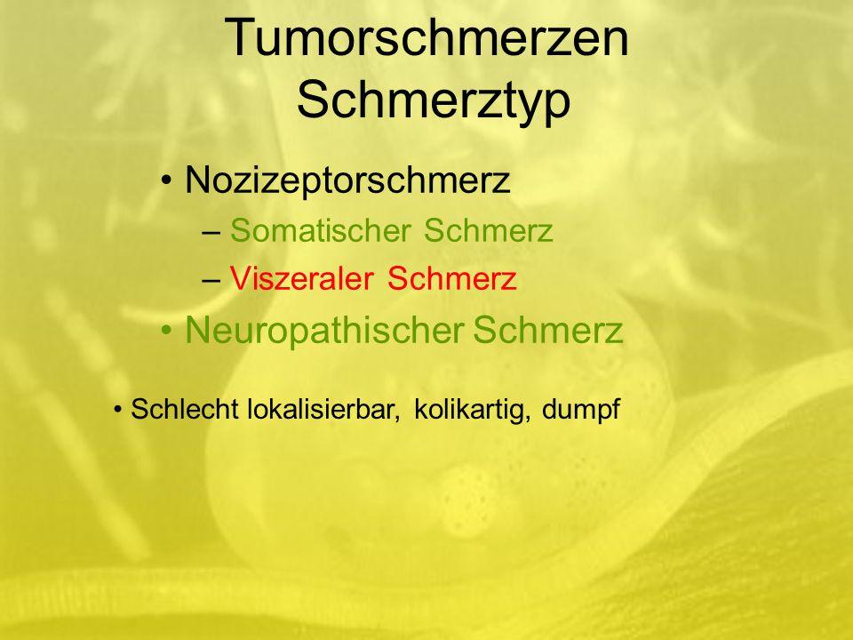 Nozizeptorschmerz – Somatischer Schmerz – Viszeraler Schmerz Neuropathischer Schmerz Schlecht lokalisierbar, kolikartig, dumpf Tumorschmerzen Schmerztyp