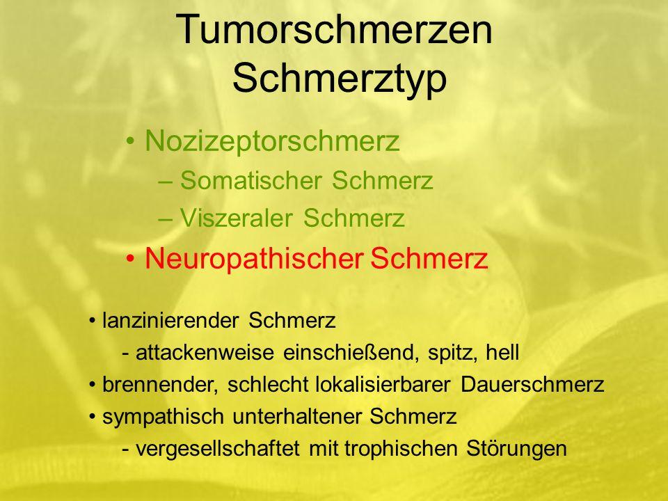 Nozizeptorschmerz – Somatischer Schmerz – Viszeraler Schmerz Neuropathischer Schmerz lanzinierender Schmerz - attackenweise einschießend, spitz, hell brennender, schlecht lokalisierbarer Dauerschmerz sympathisch unterhaltener Schmerz - vergesellschaftet mit trophischen Störungen Tumorschmerzen Schmerztyp