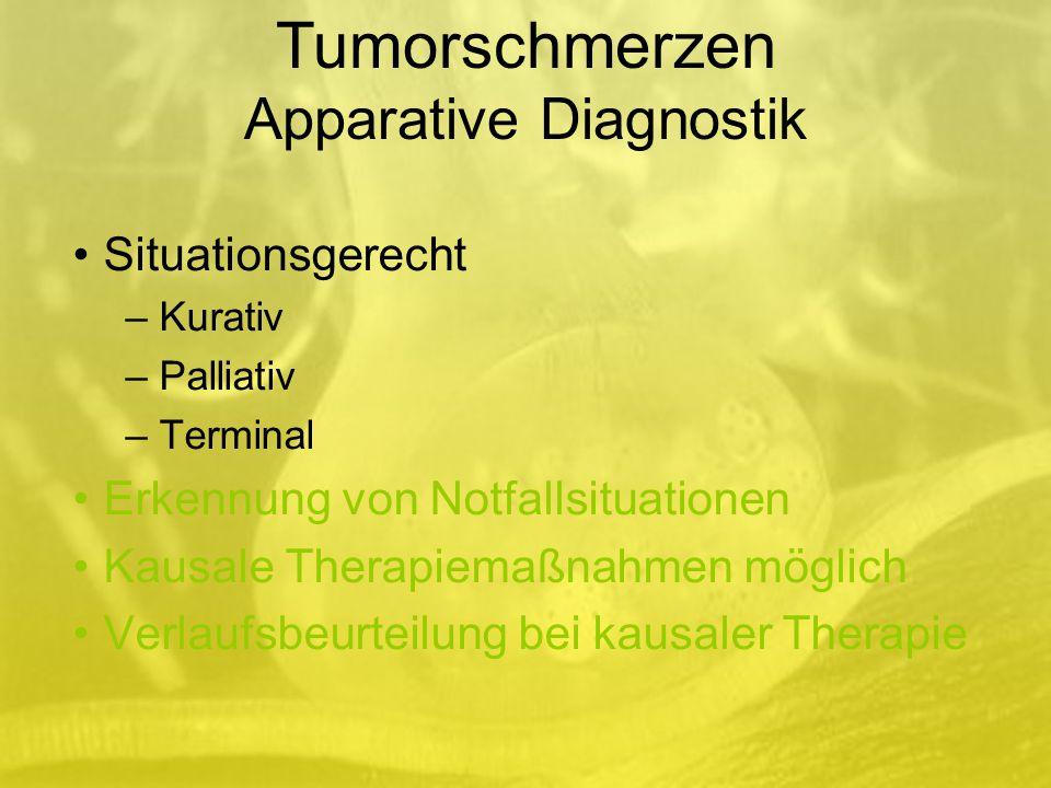 Situationsgerecht – Kurativ – Palliativ – Terminal Erkennung von Notfallsituationen Kausale Therapiemaßnahmen möglich Verlaufsbeurteilung bei kausaler Therapie Tumorschmerzen Apparative Diagnostik