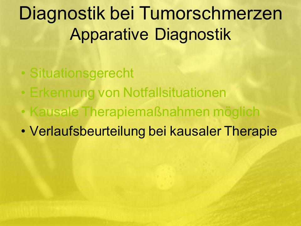 Situationsgerecht Erkennung von Notfallsituationen Kausale Therapiemaßnahmen möglich Verlaufsbeurteilung bei kausaler Therapie Diagnostik bei Tumorschmerzen Apparative Diagnostik