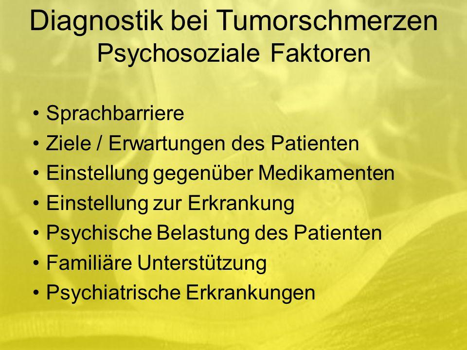 Sprachbarriere Ziele / Erwartungen des Patienten Einstellung gegenüber Medikamenten Einstellung zur Erkrankung Psychische Belastung des Patienten Familiäre Unterstützung Psychiatrische Erkrankungen Diagnostik bei Tumorschmerzen Psychosoziale Faktoren