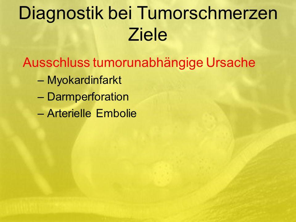 Ausschluss tumorunabhängige Ursache – Myokardinfarkt – Darmperforation – Arterielle Embolie Diagnostik bei Tumorschmerzen Ziele