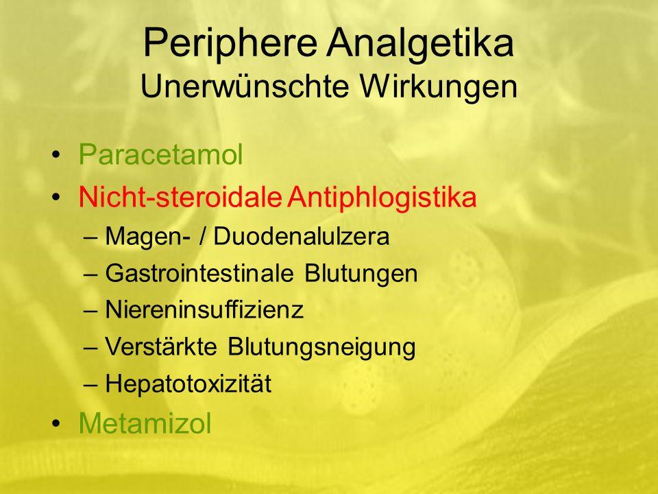 Periphere Analgetika Unerwünschte Wirkungen Paracetamol Nicht-steroidale Antiphlogistika – Magen- / Duodenalulzera – Gastrointestinale Blutungen – Niereninsuffizienz – Verstärkte Blutungsneigung – Hepatotoxizität Metamizol