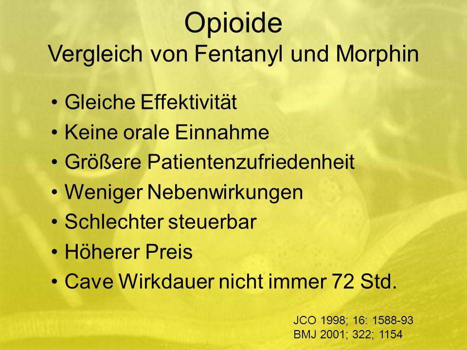 Opioide Vergleich von Fentanyl und Morphin Gleiche Effektivität Keine orale Einnahme Größere Patientenzufriedenheit Weniger Nebenwirkungen Schlechter steuerbar Höherer Preis Cave Wirkdauer nicht immer 72 Std.