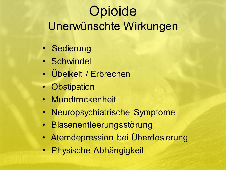 Opioide Unerwünschte Wirkungen Sedierung Schwindel Übelkeit / Erbrechen Obstipation Mundtrockenheit Neuropsychiatrische Symptome Blasenentleerungsstörung Atemdepression bei Überdosierung Physische Abhängigkeit