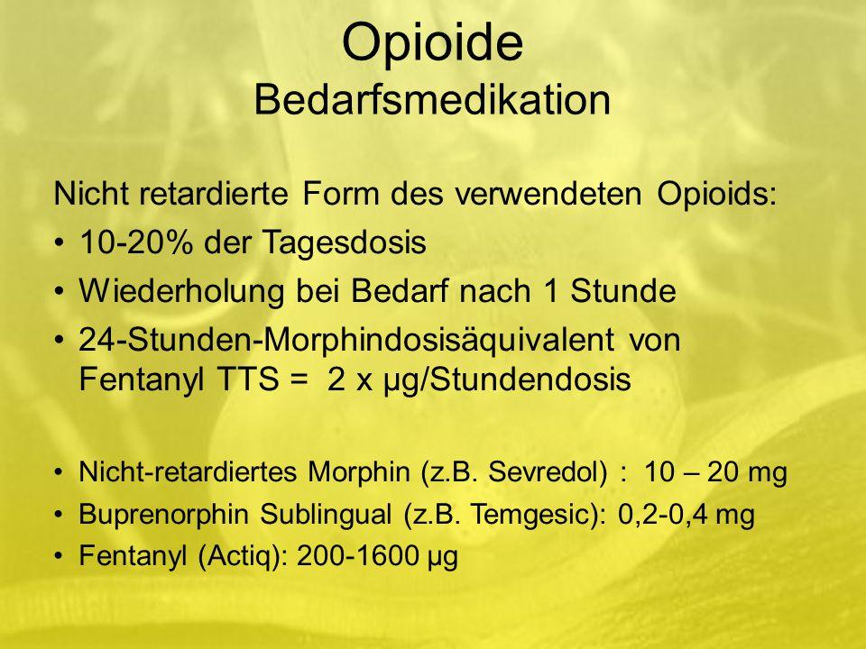 Opioide Bedarfsmedikation Nicht retardierte Form des verwendeten Opioids: 10-20% der Tagesdosis Wiederholung bei Bedarf nach 1 Stunde 24-Stunden-Morphindosisäquivalent von Fentanyl TTS = 2 x µg/Stundendosis Nicht-retardiertes Morphin (z.B.