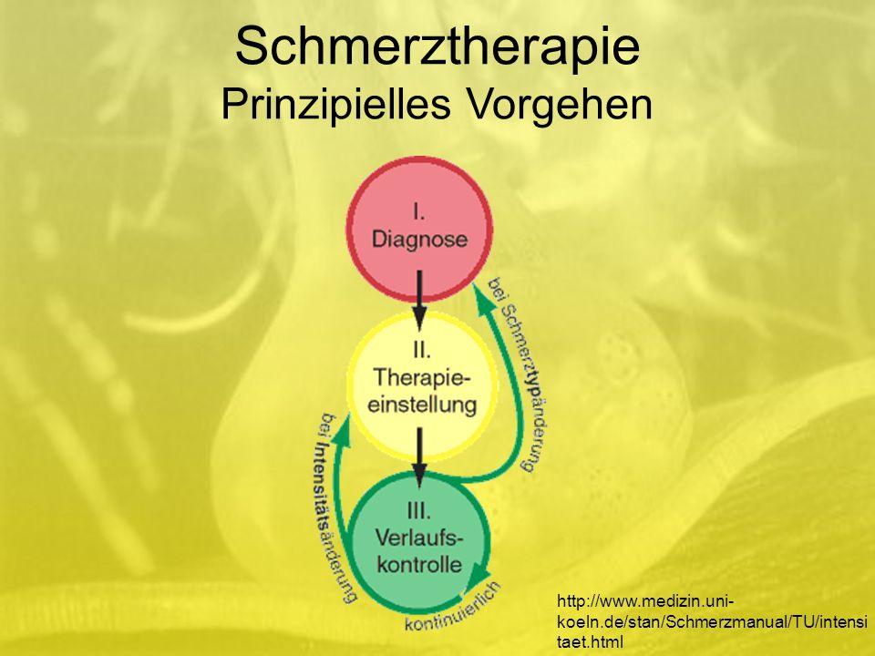 http://www.medizin.uni- koeln.de/stan/Schmerzmanual/TU/intensi taet.html Schmerztherapie Prinzipielles Vorgehen