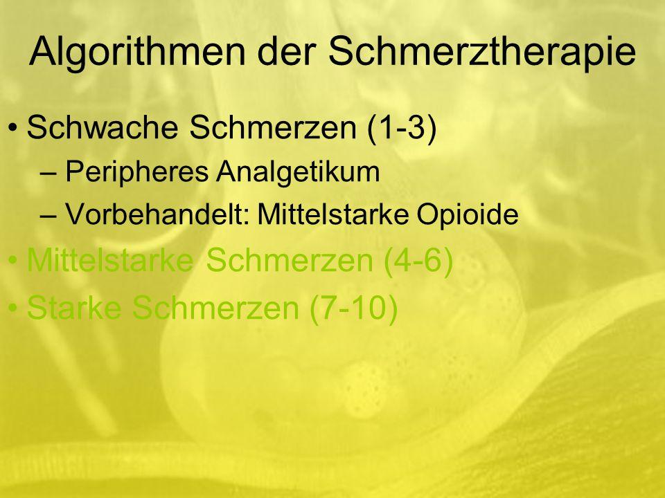 Algorithmen der Schmerztherapie Schwache Schmerzen (1-3) –Peripheres Analgetikum –Vorbehandelt: Mittelstarke Opioide Mittelstarke Schmerzen (4-6) Starke Schmerzen (7-10)