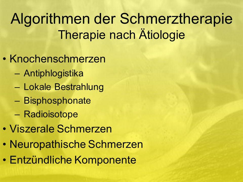 Algorithmen der Schmerztherapie Therapie nach Ätiologie Knochenschmerzen –Antiphlogistika –Lokale Bestrahlung –Bisphosphonate –Radioisotope Viszerale Schmerzen Neuropathische Schmerzen Entzündliche Komponente