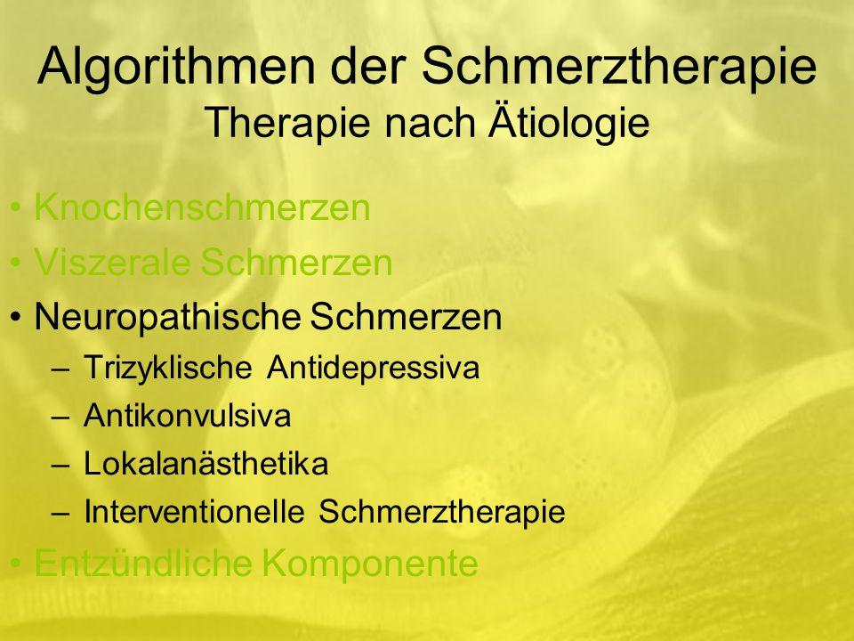 Algorithmen der Schmerztherapie Therapie nach Ätiologie Knochenschmerzen Viszerale Schmerzen Neuropathische Schmerzen –Trizyklische Antidepressiva –Antikonvulsiva –Lokalanästhetika –Interventionelle Schmerztherapie Entzündliche Komponente