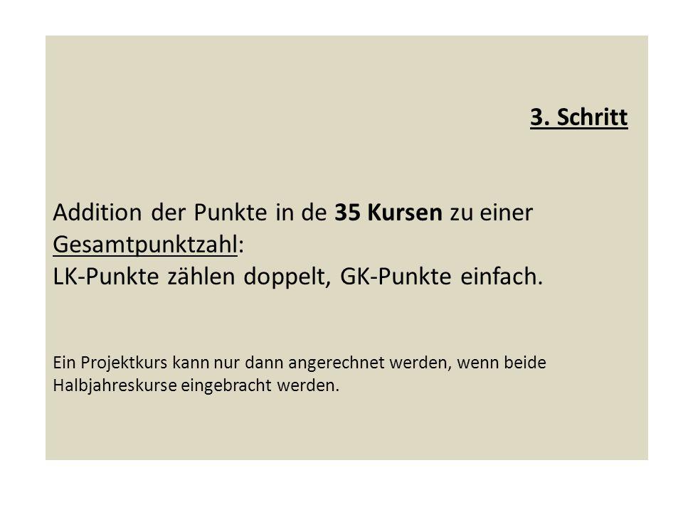 3. Schritt Addition der Punkte in de 35 Kursen zu einer Gesamtpunktzahl: LK-Punkte zählen doppelt, GK-Punkte einfach. Ein Projektkurs kann nur dann an