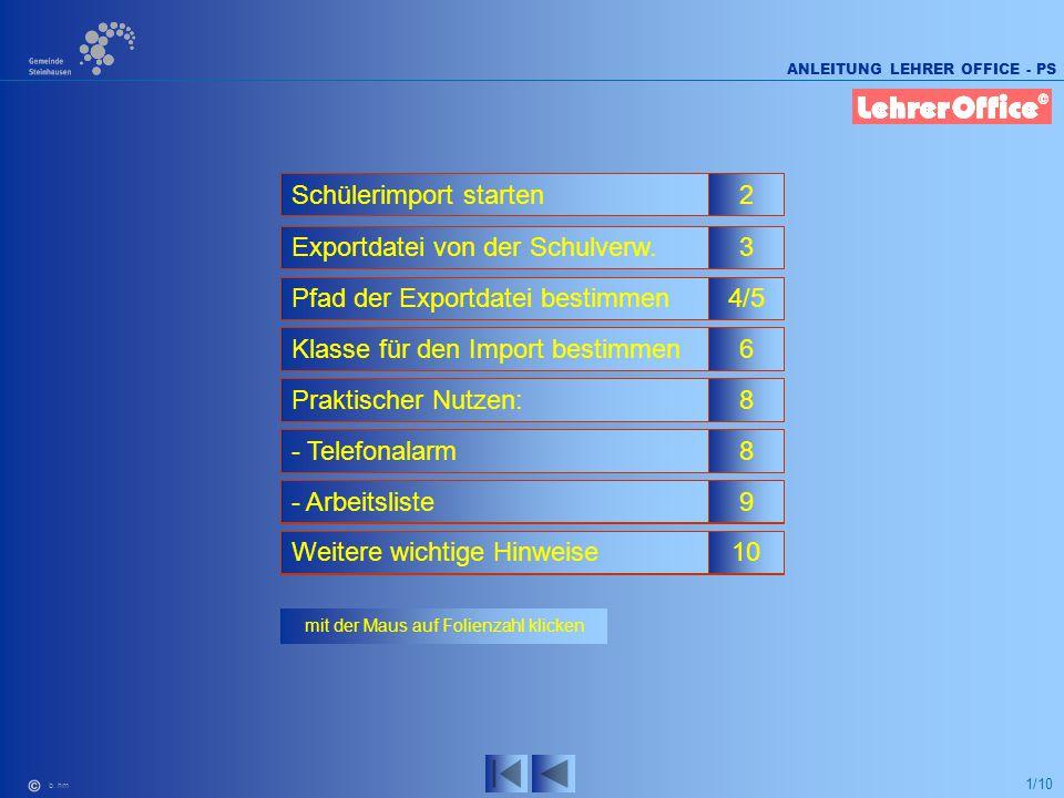 1/10 ANLEITUNG LEHRER OFFICE - PS b. hm mit der Maus auf Folienzahl klicken 2Schülerimport starten 3Exportdatei von der Schulverw. 4/5Pfad der Exportd