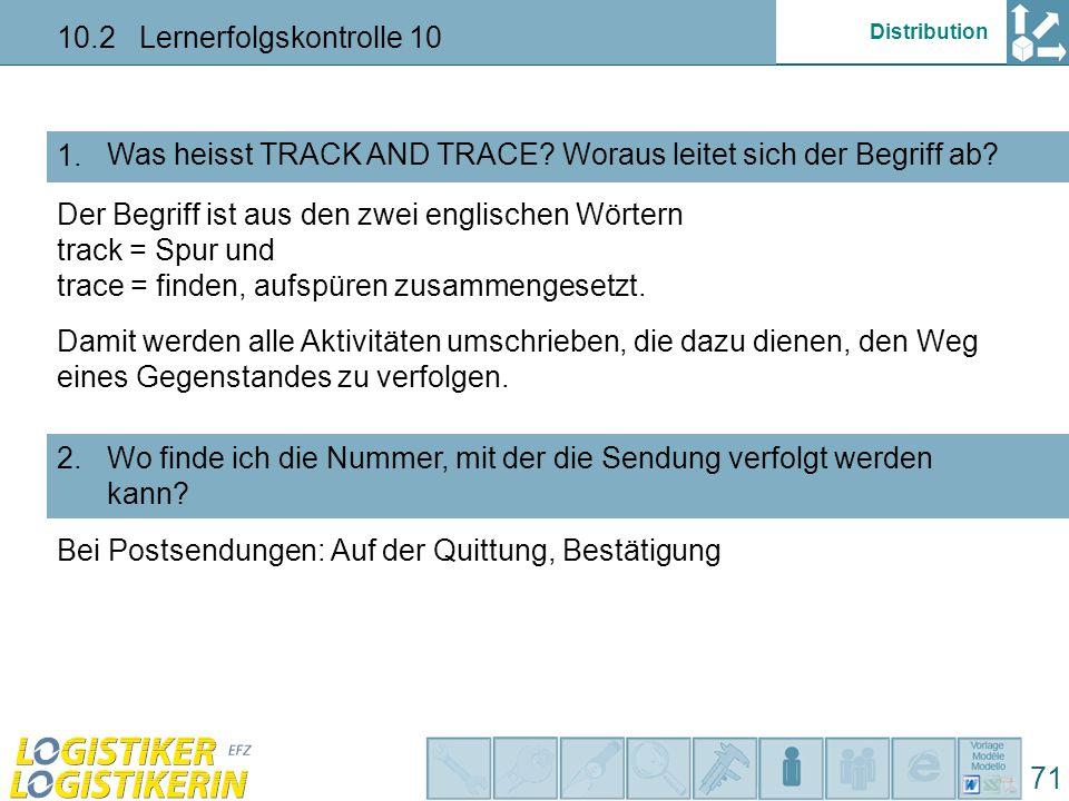 """Distribution 10.2 Lernerfolgskontrolle 10 71 Was kann ich im Zustelldienst dazu beitragen, damit das Überwachungs-System im """"Track and Trace weiss, wo ein Paket gerade ist."""