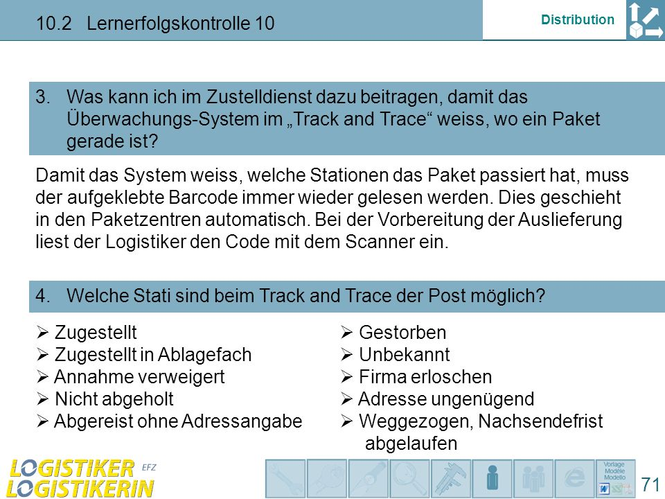 "Distribution 10.2 Lernerfolgskontrolle 10 71 Was bedeutet der Status ""AVISIERT bei der Sendungsverfolgung ""TRACK AND TRACE ."