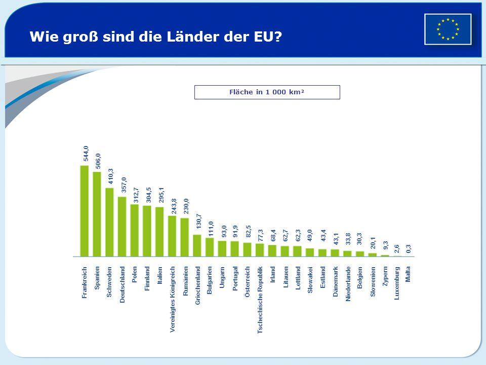 Wie groß sind die Länder der EU? Fläche in 1 000 km² Frankreich Spanien Schweden Deutschland Polen Finnland Italien Vereinigtes Königreich Rumänien Gr