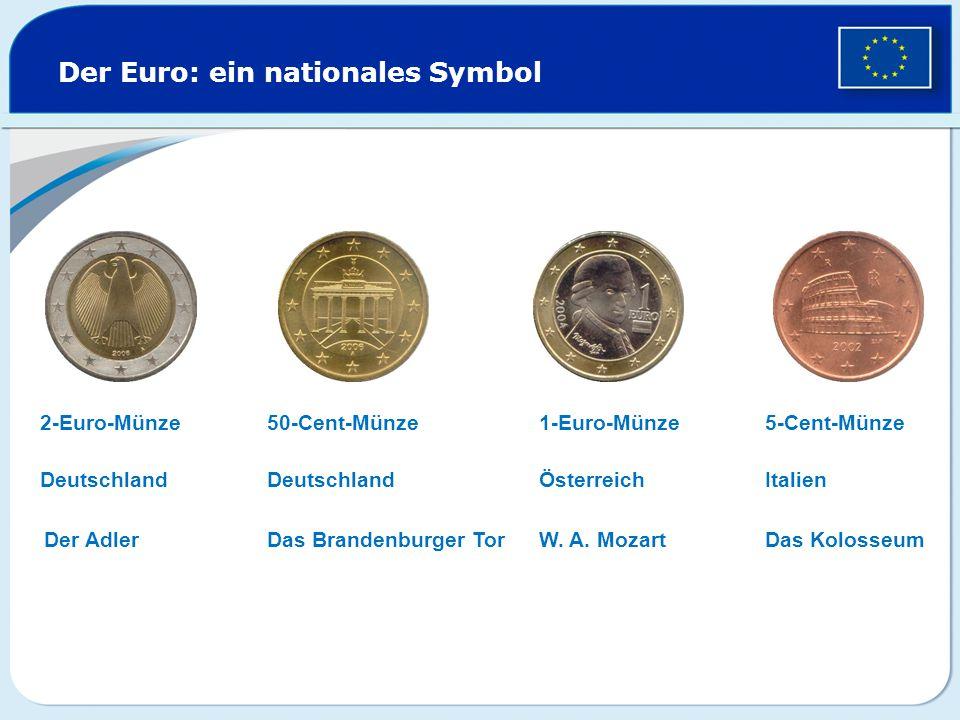 Der Euro: ein nationales Symbol 2-Euro-Münze1-Euro-Münze50-Cent-Münze5-Cent-Münze Deutschland Der Adler Deutschland Das Brandenburger Tor Österreich W