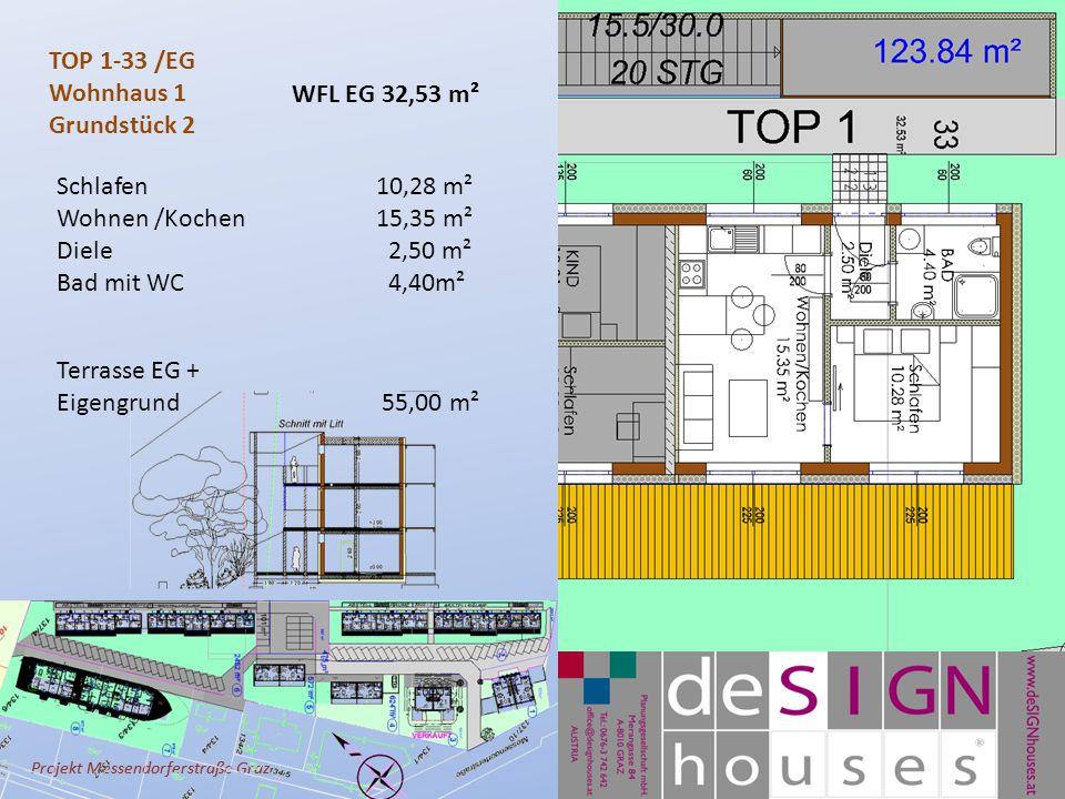 Projekt Messendorferstraße Graz TOP 1-33 /EG Wohnhaus 1 Grundstück 2 Schlafen10,28 m² Wohnen /Kochen 15,35 m² Diele 2,50 m² Bad mit WC 4,40m² Terrasse EG + Eigengrund 55,00 m² WFL EG 32,53 m²