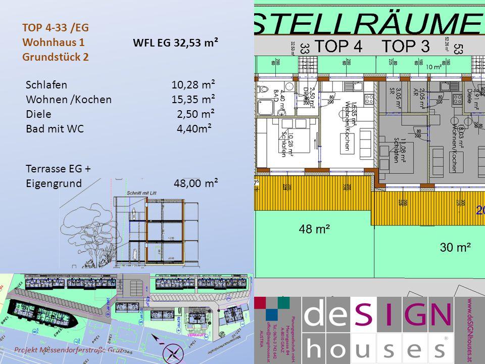 Projekt Messendorferstraße Graz TOP 4-33 /EG Wohnhaus 1 Grundstück 2 Schlafen10,28 m² Wohnen /Kochen 15,35 m² Diele 2,50 m² Bad mit WC 4,40m² Terrasse EG + Eigengrund 48,00 m² WFL EG 32,53 m²