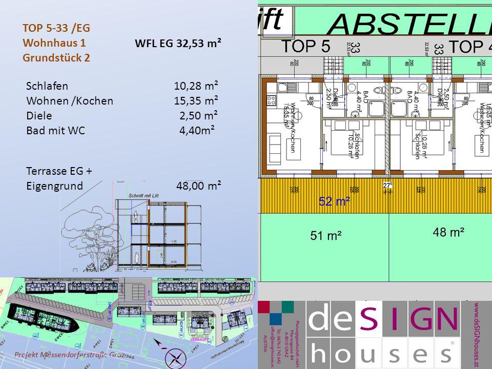 Projekt Messendorferstraße Graz TOP 5-33 /EG Wohnhaus 1 Grundstück 2 Schlafen10,28 m² Wohnen /Kochen 15,35 m² Diele 2,50 m² Bad mit WC 4,40m² Terrasse EG + Eigengrund 48,00 m² WFL EG 32,53 m²