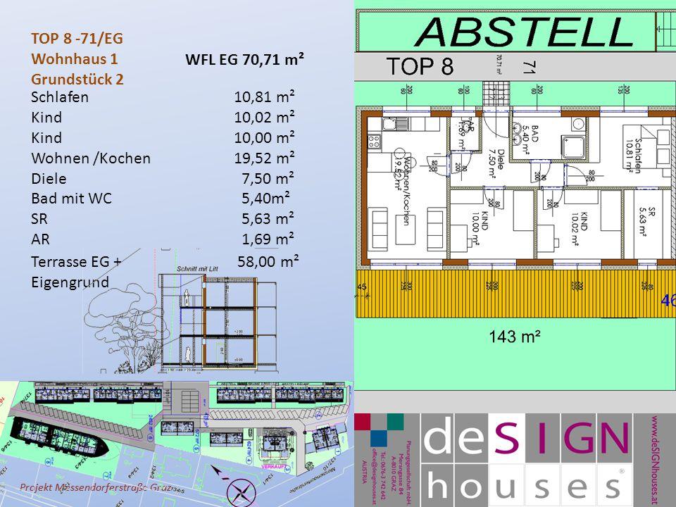 Projekt Messendorferstraße Graz TOP 8 -71/EG Wohnhaus 1 Grundstück 2 Schlafen10,81 m² Kind10,02 m² Kind10,00 m² Wohnen /Kochen 19,52 m² Diele 7,50 m² Bad mit WC 5,40m² SR 5,63 m² AR 1,69 m² Terrasse EG + 58,00 m² Eigengrund WFL EG 70,71 m²