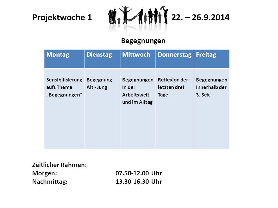"""Projektwoche 1 22. – 26.9.2014 Montag Dienstag Mittwoch Donnerstag Freitag Sensibilisierung aufs Thema """"Begegnungen"""" Begegnung Alt - Jung Begegnungen"""