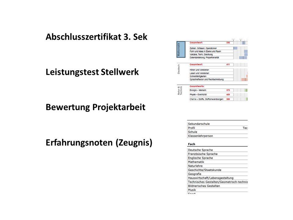Abschlusszertifikat 3. Sek Leistungstest Stellwerk Bewertung Projektarbeit Erfahrungsnoten (Zeugnis)