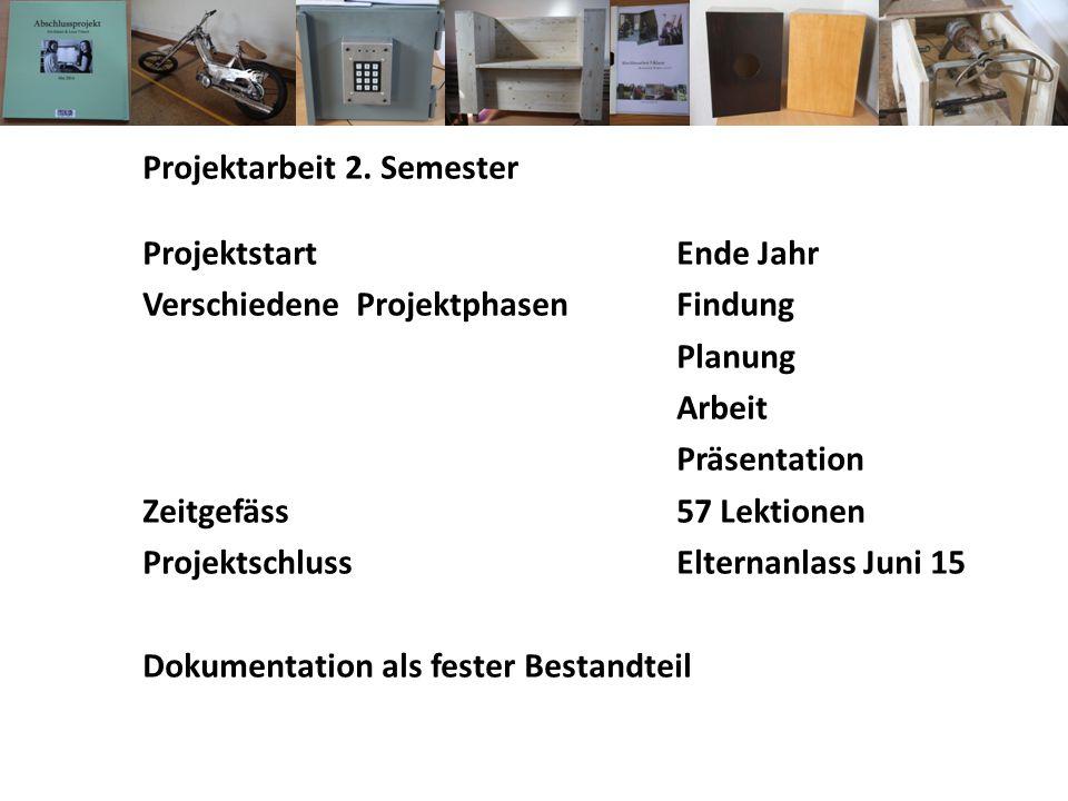 Projektarbeit 2. Semester Projektstart Ende Jahr Verschiedene ProjektphasenFindung Planung Arbeit Präsentation Zeitgefäss57 Lektionen ProjektschlussEl