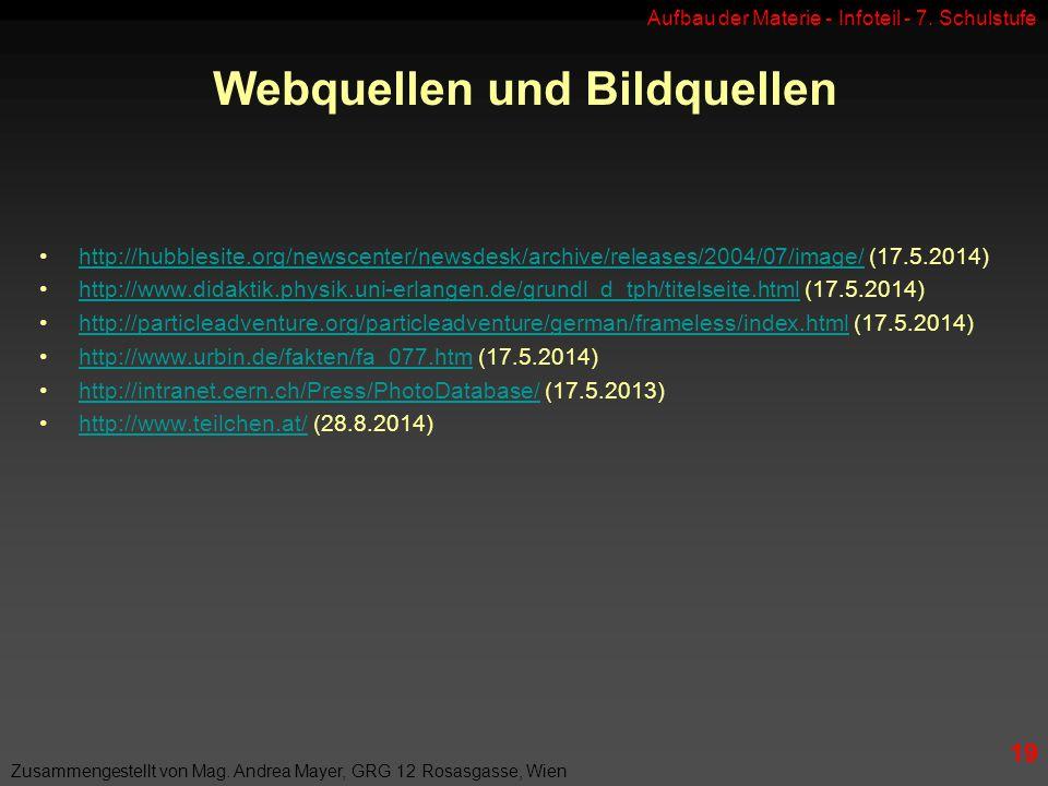 Aufbau der Materie - Infoteil - 7.Schulstufe Zusammengestellt von Mag.