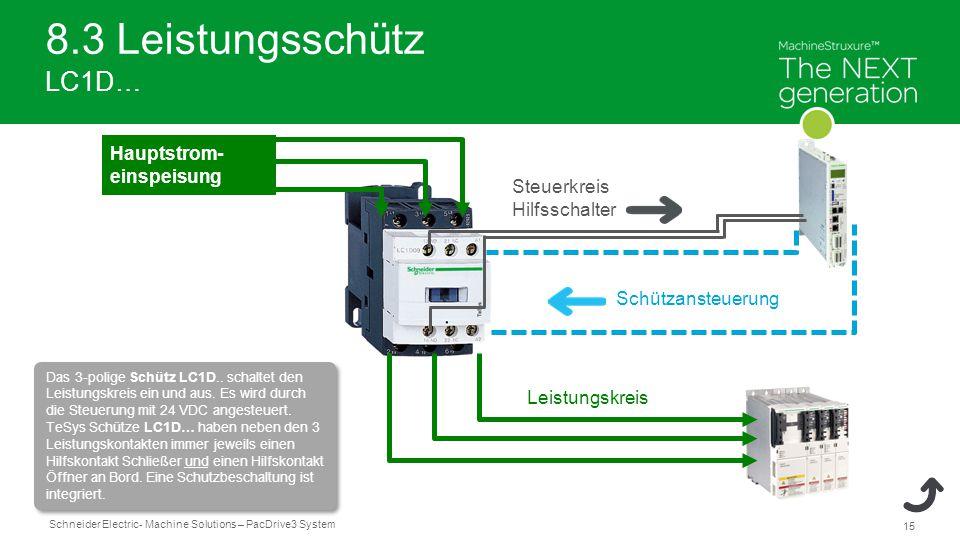 Schneider Electric 15 - Machine Solutions – PacDrive3 System 8.3 Leistungsschütz LC1D… Leistungskreis Schützansteuerung Steuerkreis Hilfsschalter Hauptstrom- einspeisung Das 3-polige Schütz LC1D..