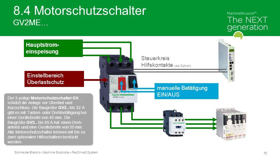 Schneider Electric 16 - Machine Solutions – PacDrive3 System 8.4 Motorschutzschalter GV2ME… Steuerkreis Hilfskontakte (als Option) manuelle Betätigung EIN/AUS Einstellbereich Überlastschutz Hauptstrom- einspeisung Der 3-polige Motorschutzschalter GV… schützt die Anlage vor Überlast und Kurzschluss.