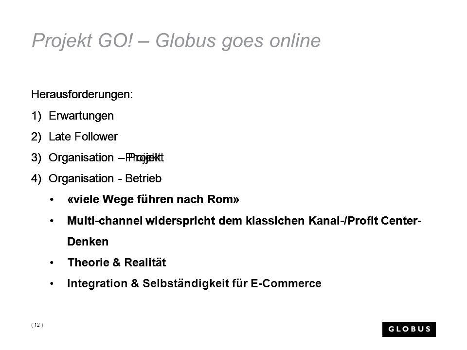 Projekt GO! – Globus goes online Herausforderungen: 1)Erwartungen 2)Late Follower 3)Organisation - Projekt 4)Organisation - Betrieb ( 12 ) Herausforde