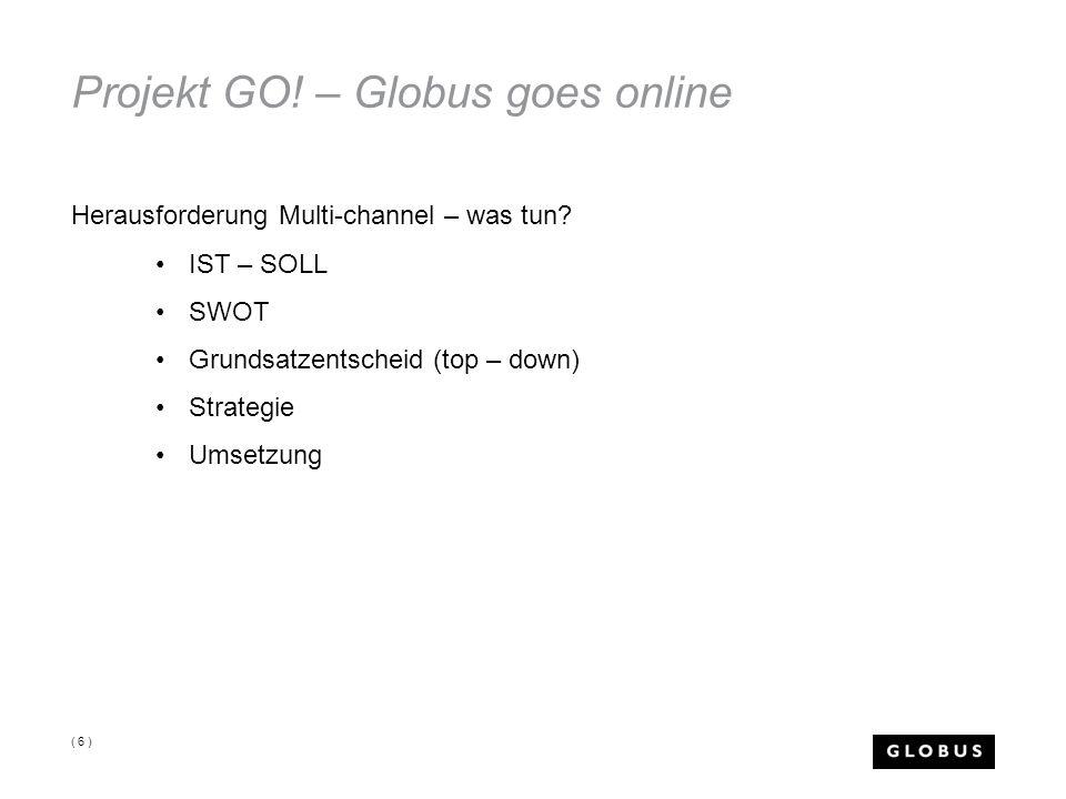 Projekt GO! – Globus goes online Herausforderung Multi-channel – was tun? IST – SOLL SWOT Grundsatzentscheid (top – down) Strategie Umsetzung ( 6 )