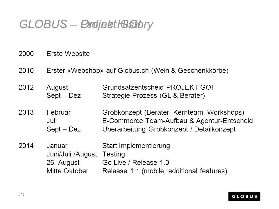 GLOBUS – Online History GLOBUS – Projekt GO! 2000Erste Website 2010Erster «Webshop» auf Globus.ch (Wein & Geschenkkörbe) 2012 AugustGrundsatzentscheid