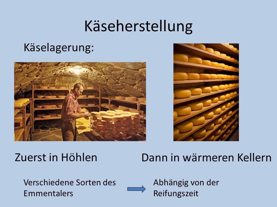 Käseherstellung Käselagerung: Zuerst in Höhlen Dann in wärmeren Kellern Verschiedene Sorten des Emmentalers Abhängig von der Reifungszeit